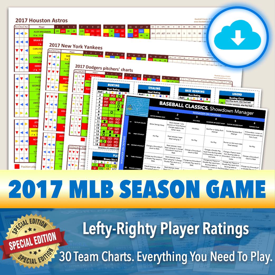 *SPLITS EDITION* Baseball Classics 2017 MLB Season Team Chart Splits Game Download