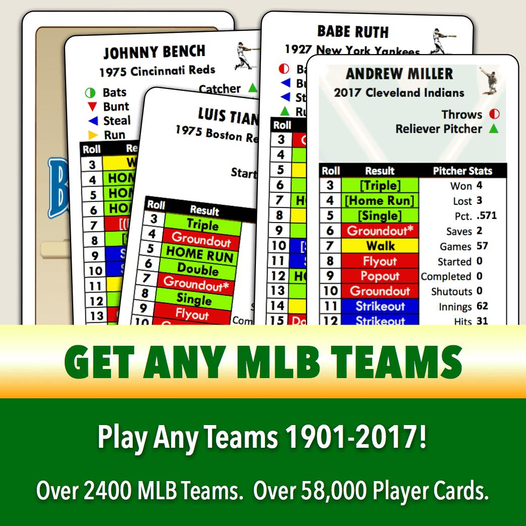 Baseball Classics MLB Teams 1901-2017 (single-column player cards)