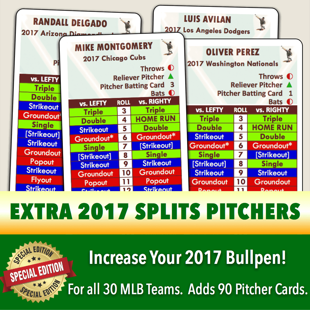 *SPLITS EDITION* Baseball Classics 2017 Extra Pitchers featuring lefty-righty player cards