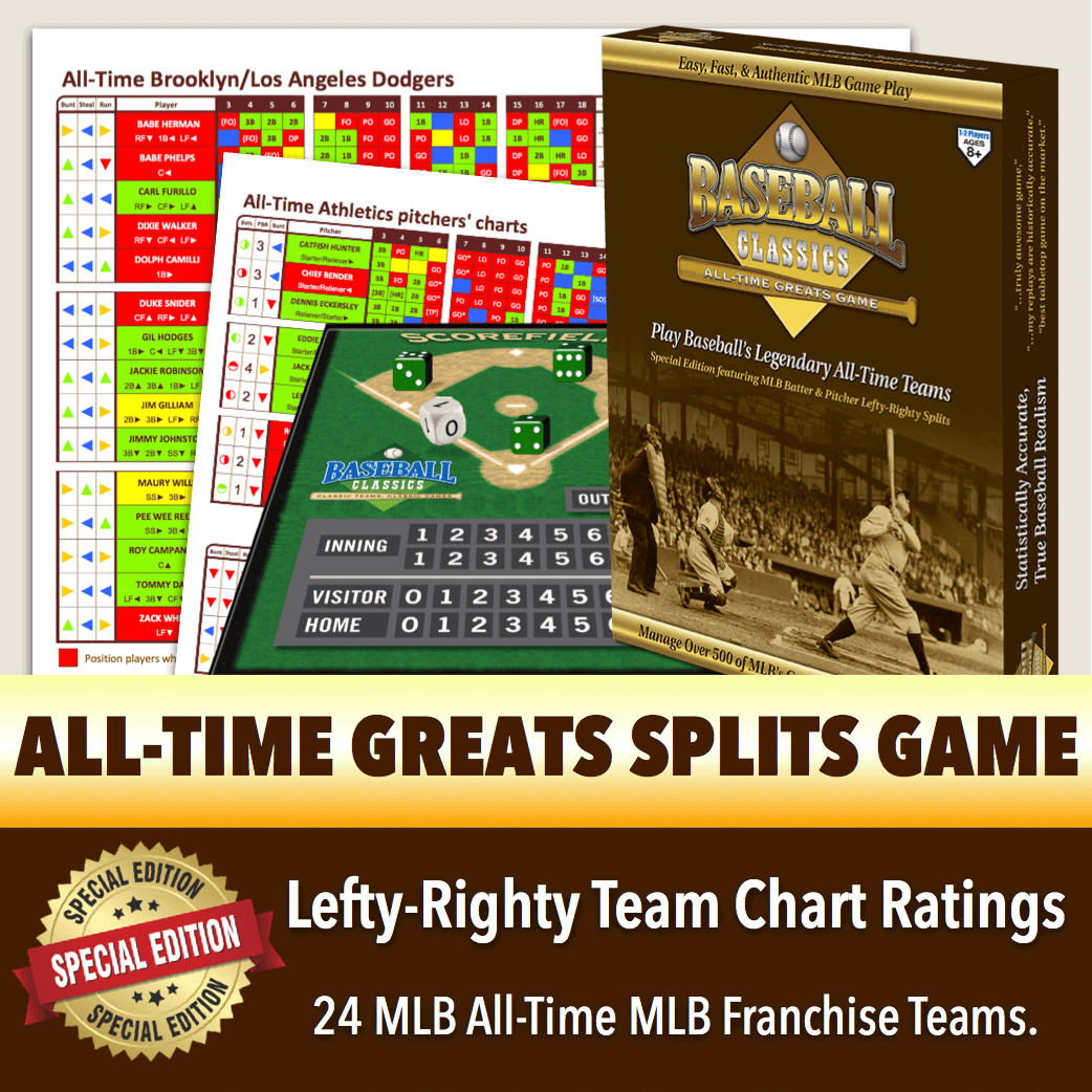 *SPLITS EDITION* Baseball Classics All-Time Greats Lefty-Righty Team Charts Boxed Game