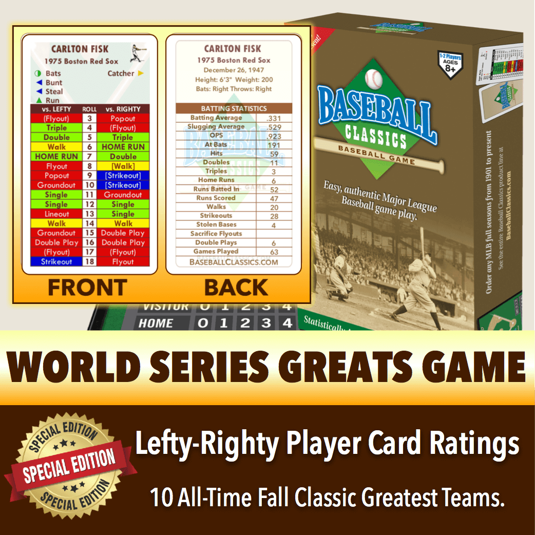 *SPLITS EDITION* Baseball Classics World Series GreatsLefty-Righty Player Card Boxed Game