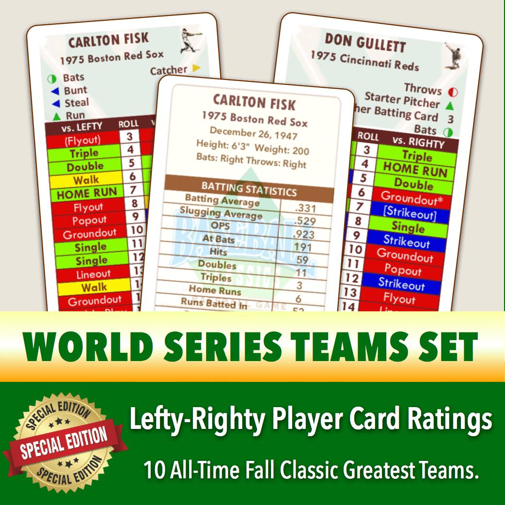 *SPLITS EDITION* Baseball Classics World Series Greats Teams Set Lefty-Righty Player Cards