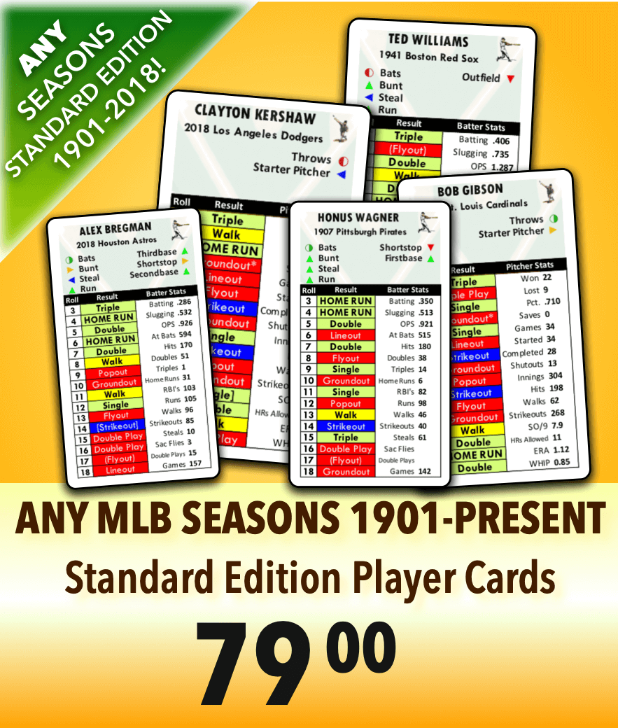 Add Any Mlb Seasons 1901 2018 Standard Player Cards Edition
